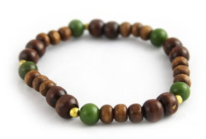 Image of Wood and Ceramic Stone Beaded Bracelet