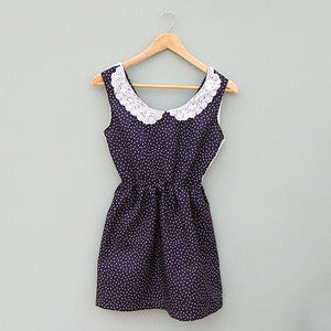 Image of Vintage Polka Dress with White Lace Collar and Back