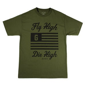 Image of Fly High Die High SS Tee in Miltary Green