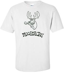 Image of MOOSTACHE (it's a moose with a mustache. get it?) T-SHIRT