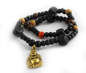 Image of Wood beaded Buddha wrap bracelet