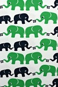 Image of Green elephants organic cotton interlock (by the half metre)