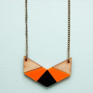 Image of Geo Chevron Necklace - Burnt Orange by Nylon Sky