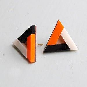 Image of Pyramid Earrings - Burnt Orange by Nylon Sky