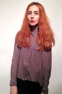 Image of oversized grey cotton bat sleeves shirt
