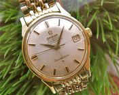 Image of VINTAGE OMEGA CONSTELLATION CROSSHAIRS DIAL w/ORIGINAL GF BEADS OF RICE BRACELET
