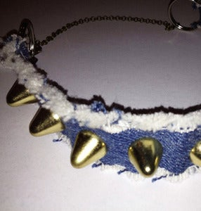 Image of SICK CHOKER - BLUE DENIM & GOLD STUDS