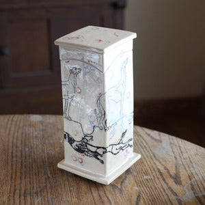 Image of Tall memory box with greyhounds and dots