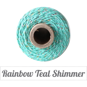 Image of (Limited Edition) Rainbow Teal Shimmer - Rainbow Metallic & Caribbean Teal Baker's Twine