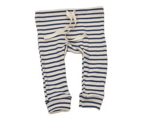 Image of Organic Cotton Striped Leggings - Natural/Blue Nautical Stripe