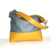 Color Block Leather Hobo - Gray and Gold
