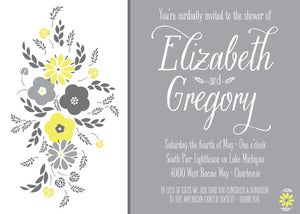 Image of Gray and Yellow Shower Invitation with Flowers