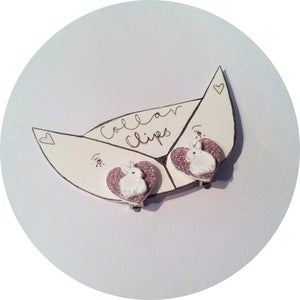 Image of Collar Adornments: Sparkly Heart & Rabbit Clips