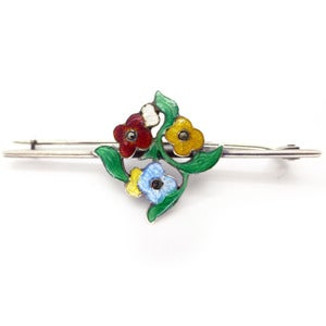 Image of Vintage Bernard Instone Floral Vibrant Sterling Silver Enamel Arts &amp; Crafts Pin Brooch