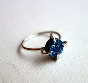 Image of Blue Drusy Prong Ring