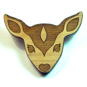 Image of Female Deer Wooden Brooch