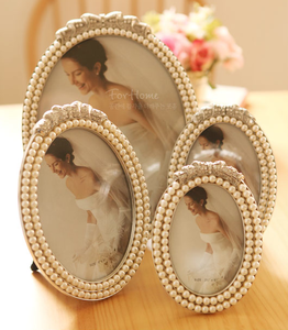 Image of Wedding pearl silver ribbon frame