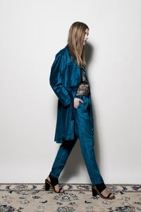 Image of W13 Velvet Shirt Coat - Cobalt