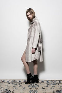 Image of W13 Velvet Shirt Coat - Stone