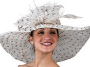 Image of Big Brim Sinamay Hat - Black & White Dots