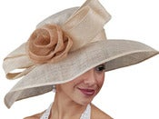 Image of Big Brim Sinamay Hat - Nude With Flower