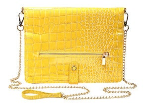 Image of Polly - Faux Croc Leather in Yellow