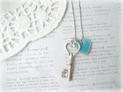 Image of Antique Silver Key with Blue Heart Necklace