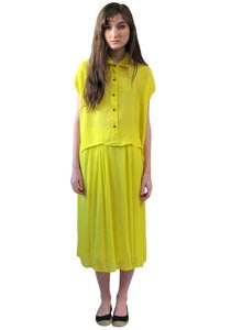Image of YELLOW CROPPED BUTTON-UP