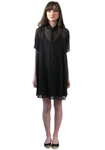Image of BLACK BACK-PLEAT TUNIC