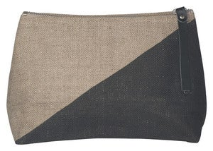 Image of Sasha Small Linen Cosmetic Bag:: Black