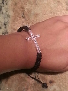Image of Pink Rhinestone Cross Bracelet
