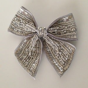 Image of Silver Beaded Bow