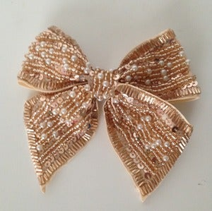 Image of Beige Beaded Bow