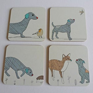 Image of Curious Dogs Coasters set of 4
