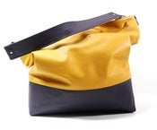 Color Block Leather Hobo - Gold/Purple