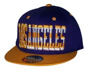 Image of Los Angeles Stars & Bars Script Laker Colorway Snapback Hat Cap