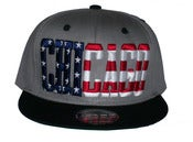 Image of Chicago Stars & Bars Script Cool Gray Colorway Snapback Hat Cap