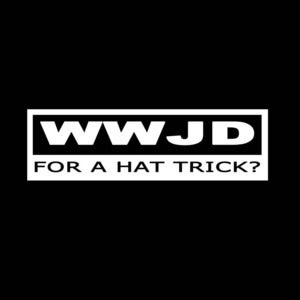 Image of WWJD for a hat trick shirt