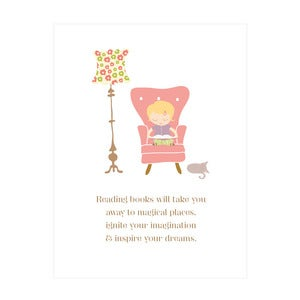 "Image of ""Reading takes you to magical places"" Art Print (girls blonde version)"