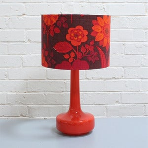 Image of NEW! Bell Bottom Table Lamp in Orange with Vintage Bright Floral Shade