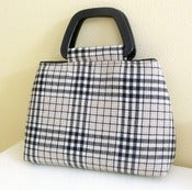 Image of Cream and Black Plaid Wool Handbag