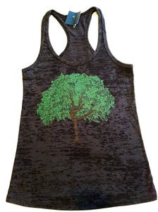 Image of dancing tree - burnout racerback tank - black