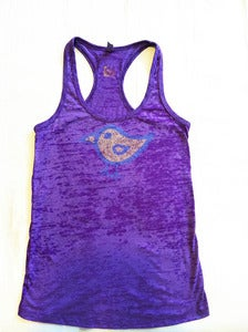 Image of bird - burnout racerback tank - purple