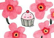 Image of PRINT: 8x10 Classic Floral Print with Cupcake