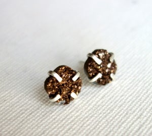 Image of Chocolate Drusy Prong Studs