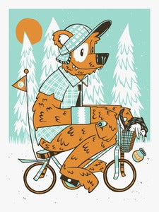 Image of Bear on Bike ArtPrint // 18x24