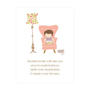 Image of The Magic of Books Art Print (girls version)