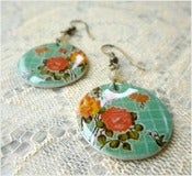 Image of Turquoise Rose - Mexican Oilcloth Inspired Earrings
