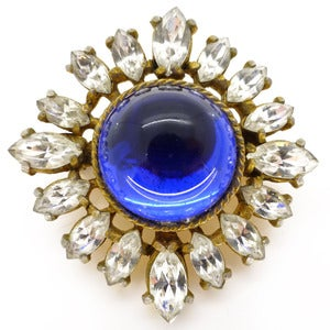 Image of Vintage Blue Glass Ornate Star burst Paste Rhinestone Gilt Pin Brooch