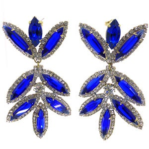 Image of Vintage Large Czech Glass Sparkling Royal Blue Rhinestone Sparkling Ornate Earrings